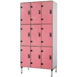 Vestiaire stratifié multicasiers 9 cases L93xP50,5xH192 cm
