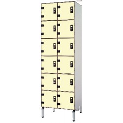 Vestiaire stratifié multicasiers 12 cases L63xP50,5xH192 cm