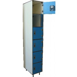 Vestiaire stratifié multicasiers 6 cases L32xP50,5xH192 cm
