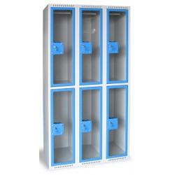 Armoire multicases portes plexi 4 colonnes 8 cases L120xP49xH180 cm