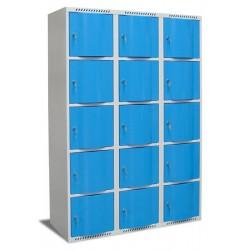 Vestiaire multicases portes bombées 3 colonnes 15 cases L120xP49xH180 cm