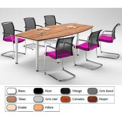 Table de réunion tonneau pieds carrés alu 240x120 cm
