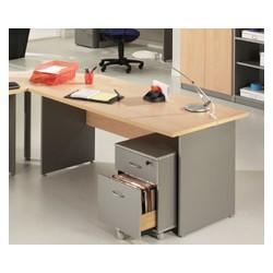 Caisson mobile Stratus 2 tiroirs dont 1 ds finition hêtre ou aluminium