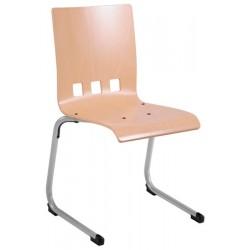 Chaise coque bois appui sur table Bertille acier T6
