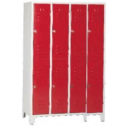 Armoire vestiaire monobloc multicasiers 4 colonnes 8 cases L120 cm