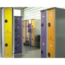 Vestiaire monobloc multicasiers Top avec pieds avec serrure de sureté  4 colonne L30 cm 8 portes