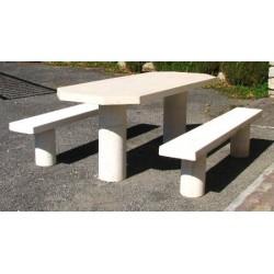 Table pique-nique ovale à dégagement latéral en béton blanc