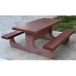 Table pique-nique monobloc rectangle en béton coloré