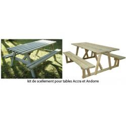 Kit de scellement pour tables de pique-nique bois Andorre et Accra