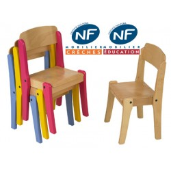 Chaise crèche bois NF Pioupiou empilable T1