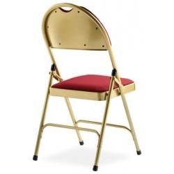 Lot de 4 chaises pliantes accrochables Loan laiton doré assise et dossier tissu enduit M2