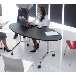 Table mobile et rabattable Oxygène ovale 160x80 cm structure chromée