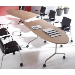 Table mobile et rabattable Oxygène demi ovale 160x80 cm structure alu
