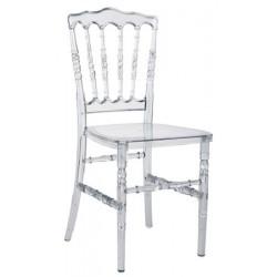 Lot de 7 chaises empilables Napoléon transparentes avec coussin