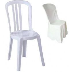 Lot de 10 housses blanches pour chaises bistrot