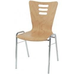 Chaise coque bois Natacha empilable vernis naturel