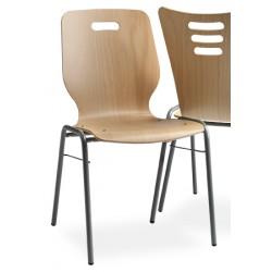 Chaise coque bois Katie empilable et accrochable vernis naturel
