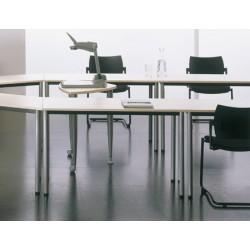 Table de réunion modulable 1/2 lune 140x70 cm pieds ronds
