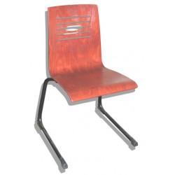 Chaise coque piètement luge acier NF Julie hêtre teinte T6