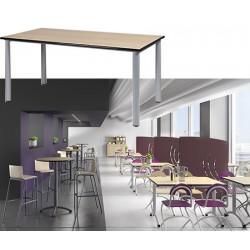 Table restauration Maïwenn 4 pieds 80x80 cm stratifié chant alaisé T1 à T6