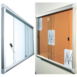 Vitrine intérieure à porte coulissante en verre fond liège 21 A4 (103x155 cm)