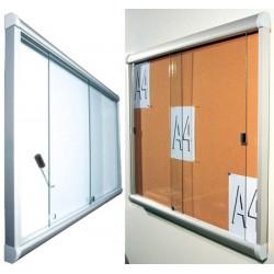 Vitrine intérieure à porte coulissante en verre fond liège 6 A4 (70x66 cm)