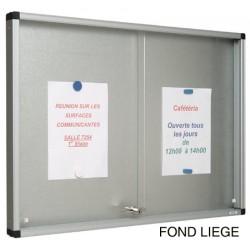 Vitrine Gentilly verre securit portes coulissantes fond liège 70x116 cm