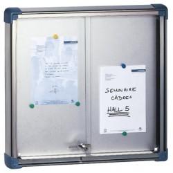Vitrine Fronton à portes coulissantes fond tole verre securit 128x137 cm 24 A4