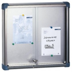 Vitrine Fronton à portes coulissantes fond tole verre securit 69x94 cm 8 A4