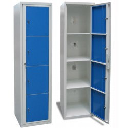 Armoire scolaire casier visitable 1 colonne 4 cases L45xP50xH180 cm
