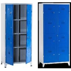 Armoire college monobloc 2 colonnes 8 cases L90 cm à ouverture centralisée