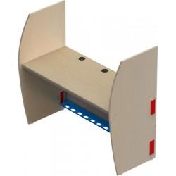 Poste informatique double départ 2 pieds cloisonnettes L137,6xP63xH130 cm