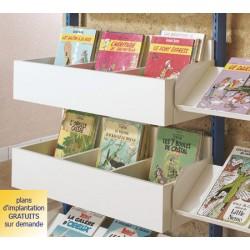 Rayonnage bibliothèque Vénus : bac pour revues et bd à insérer