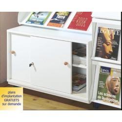 Rayonnage bibliothèque Vénus : armoirette 2 portes coulissantes