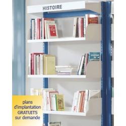 Rayonnage bibliothèque Vénus : tablette droite p 39cm dossiers suspendus