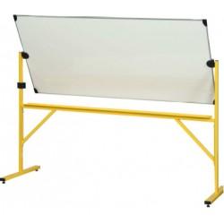 Tableau pivotant horizontal 100x200 cm 2 face blanches chassis jaune