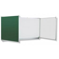 Tryptique émaillé NF éducation E3 mixte blanc et vert 120x400 cm