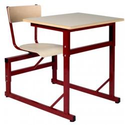 Table scolaire à sièges attenants réglable Naples 70x50 cm stratifié chant ABS T4 à T6