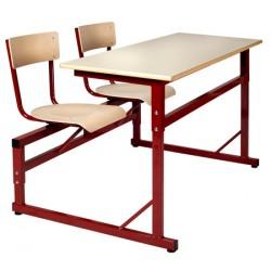 Table scolaire à sièges attenants réglable Naples 130x50 cm stratifié chant alaisé T4 à T6