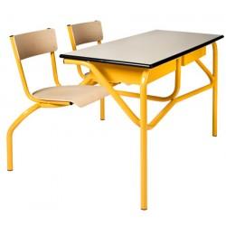 Table scolaire à sièges attenants Venise 130x50 cm stratifié chant alaisé T4 à T6