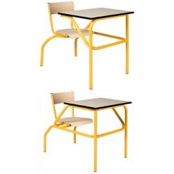 Table scolaire à sièges attenants Venise 70x50 cm stratifié chant alaisé T4 à T6