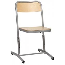 Chaise scolaire NF Milan appui sur table hauteur réglable embase cintrée T4 à T6