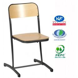 Chaise scolaire NF Milan appui sur table embase cintrée T4 à T6