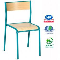 Chaise scolaire Naples 4 pieds NF assise et dossier encastré T3 à T6