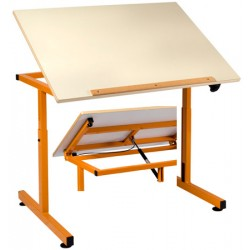 Table PMR 90x65 cm plateau mélaminé chants ABS inclinable par verin à gaz