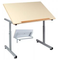 Table PMR 90x65 cm plateau mélaminé chants ABS inclinable par crémaillière