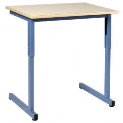 Table scolaire Naples à dégagement latéral réglable 130x50 cm mélaminé chant ABS  T4 à T6