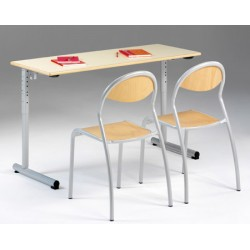 Lot de 2 tables réglables scolaires NF à dégagement latéral Jeanne 130x50 cm stratifiée chant hêtre