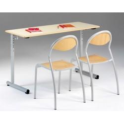 Lot de 2 tables réglables scolaires NF à dégagement latéral Jeanne 130x50 cm mélaminé