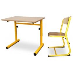 Pack scolaire n°4 : 30 tables réglables Clémentine 70x50 mélaminé + 30 chaises réglables Hortense T4 à T6